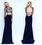 Two-Piece Crop-Top Evening Beaded Dress