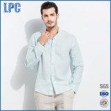 Men′s Long Sleeve Textured Linen Shirt
