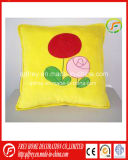 Yellow Cute Plush Soft Cushion with Flower Imprinted