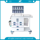 AG-At017 Stainless Steel Frame Anaesthetic Cart Movable Medical Trolley
