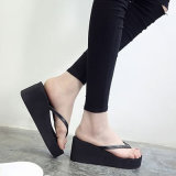 Women′s Platform Buckle Sandal-Open Peep Toe Chunky Ankle Strap Shoe