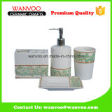 Embossed Maple Leaves Ceramic Hand Painted Bathroom Set for Home Usage