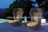 New Design Outdoor Garden Furniture Synthetic Rattan Lover Chair with Ottoman&Coffee Table (YT1053)