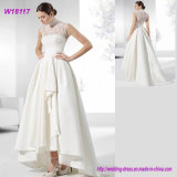 Hot Selling Fashion Style Lace Covered Front Short Long Back Wedding Dress