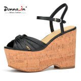 Lichee Pattern Leather High Heels Shoes Women Cork Platform Sandals