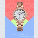 Fashion Crystal Ladies Quartz Wrist Watch Women Rose Gold Jewelry Watch with 10ATM Waterproof Quality 71041