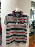 Red and Dark Blue Stripe Grey Man Polo Shirt in Leisure Man Clothes Fw-8648