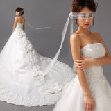 No Risk Shopping Fashion A Line Strapless Court Appliques Wedding Dresses (HD6503)