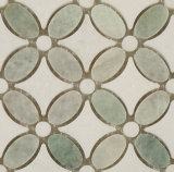 Flower Design White and Green Marble Waterjet Mosaic