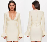 Peace Love Cream Flare Sleeve Bandage Bodycon Dress
