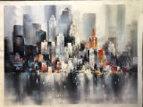 City Scenery Modern Oil Painting Canvas Art for Hotel Decor