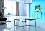 Modern Stainless Steel Tempered Glass Coffee Table