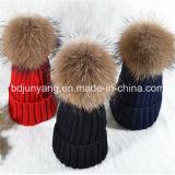 POM POM Beanie Winter Hats with Real Raccoon Fur