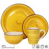 Yellow Color Antique Finished Hand Painting 16PCS Dinner Set
