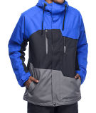 Adjustable Drawstring Hood Colorblock Ski Jacket
