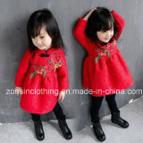 Chinese Costume Velvet Dress Children Clothes with Embroidery Flowers