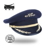 Honorable Military Air Commodore Peaked Cap with Black Strap and Gold Embroidery