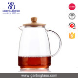 Elegent 660ml Pyrex Glass Water Jug with Handle and Wodden Lid