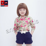 Kids Cotton Shirt with Printed Woven Fabric for Girl