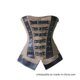 Women′s Gothic Punk Satin Boned Zipper Overbust Corset with Buckles