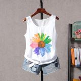 Cotton&Linen Round Collar Heat Transfer Printing White Condole Belt Vest