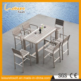 Selling Well Garden Outdoor Furniture Anodized Aluminum Dining Table Sets with Plastic Wood Bar Armchairs