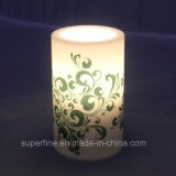Twinkling Printing Flameless Weeding Plastic LED Candle for Decoration