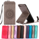 Phone Case Emboss Flower Leather Stand Pouch Flip Vertical Wallet