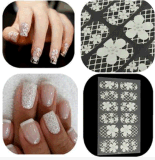 3D White Lace Flower Design Nail Art Stickers Nail Sticker