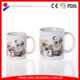 20oz White Stoneware Straight Ceramic Mug with Animal Decal Design