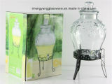 Large Glass Juice Jar/Glass Beverage Dispenser with Lid and Stand, Tap