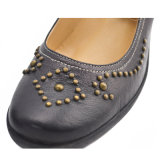 Black Lady Soft Sheepskin Shoe with Rivets (T2069)