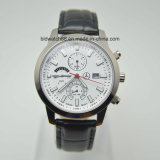 Custom Watch Men Stainless Steel Chronograph Watch with Leather Band