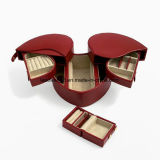 Red Lizard Leather Heart Jewelry Box & Travel Case Set