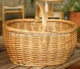 Nature Customized Handmade French Vintage Wicker Basket in Oval Shape