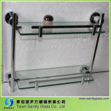 8mm Clear Tempered Float Decorative Bathroom Glass Shelf