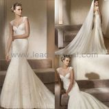 Cap Sleeve Bridal Gown Mermaid Lace Tulle Wedding Dress H16227