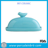 Hot Sale Blue Bird Ceramic Butter Dish