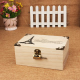 Flip / Clamshell Jewelry / Cosmetic Wooden Case with Lock