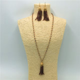 Fashion Crystal Beads Necklace with Pendant Alloy Earrings Jewelry Sets