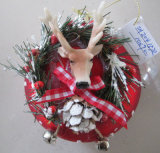 Hand Blown Glass X′mas Ball with Raindeer Head