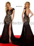 2013 New Black Lace Silk Chiffon Evening Dress Custom Designer Sexy Prom Dress 1 PC Drop Shipping (EU09)