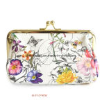 Kiss Lock Flower Prints PVC Women′s Cosmetics Purse Bag