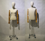 European Male Tailor Mannequin Torso with Wheeled Baseplate