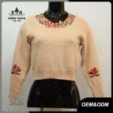 Women Ribbed Cuffs Hem Crop Sweater