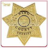 Custom Star Shape Gold Plated Military Badge with Safety Pin
