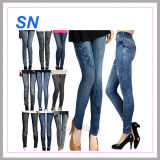 2015 Hotsell Stretchy Leggings Printed Tights Fake Jeans Seamless Women Leggings