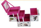Portable PVC Cosmetic Organizer Box, Makeup Train Case with Mirror