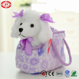 White Quality Poodle Dog Toy in Purple Plush Soft Bag