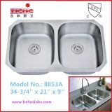 50/50 Stainless Steel Kitchen Sink with Cupc Certificate (8853)